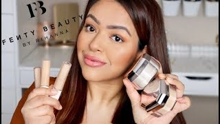 UNBIASED FENTY BEAUTY CONCEALER + POWDER REVIEW AND SWATCHES | CLOSE UP DEMO | WEAR TEST