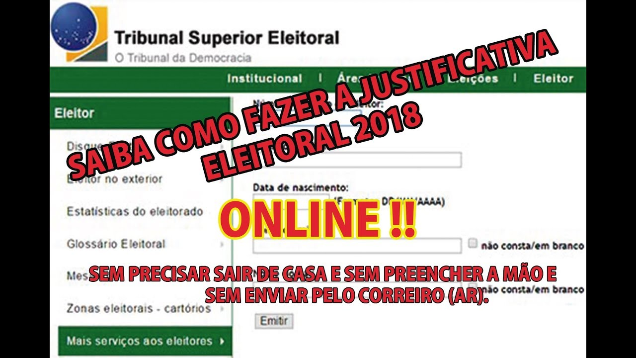 COMO FAZER A JUSTIFICATIVA ELEITORAL 2020 - PELA INTERNETE ! SEM SAIR DE CASA !