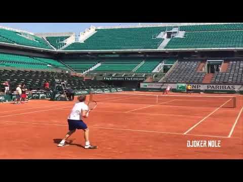 Novak Djokovic & Alexander Zverev Practice - RG 2018 (HD)
