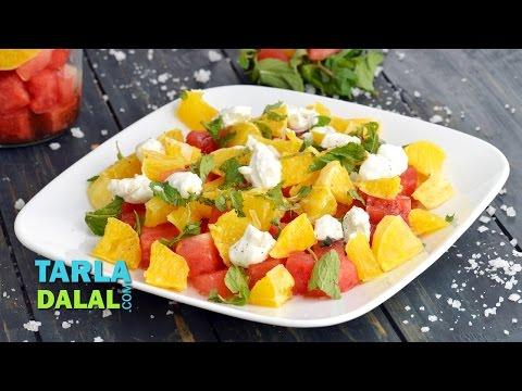 Watermelon, Orange and Feta Salad by Tarla Dalal