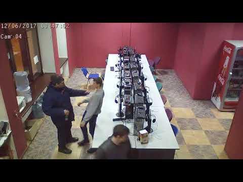 Охранник компьютерного зала вырубил амбала с одного удара