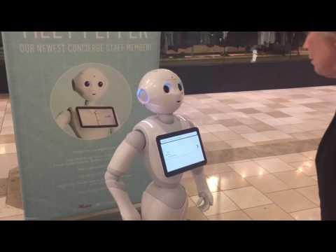 Pepper the robot at Valleyfair Mall in Santa Clara