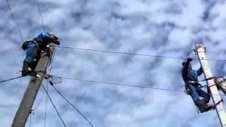 В частном секторе Бердска меняют провода(03.06.2013. Видео http://www.berdsk-online.ru/, 2013-06-03T08:35:34.000Z)