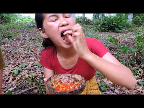 Primitive Technology - Pretty girl Find cook Centipede  on rock -  cooking worms  eating delicious