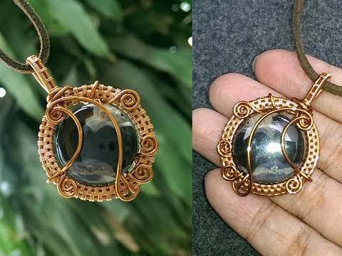 Ocean Waves Pendant With Large Stones Wire Wrapped Stones