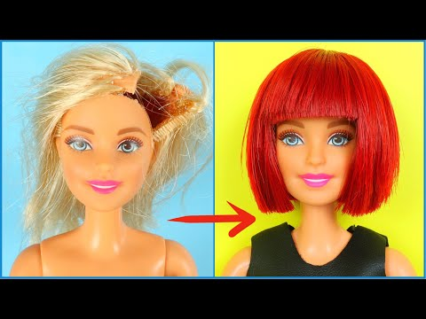 DIY BARBIE HAIRSTYLES - WIG | RECYCLE AND MAKE OLD TOYS GREAT AGAIN! thumbnail