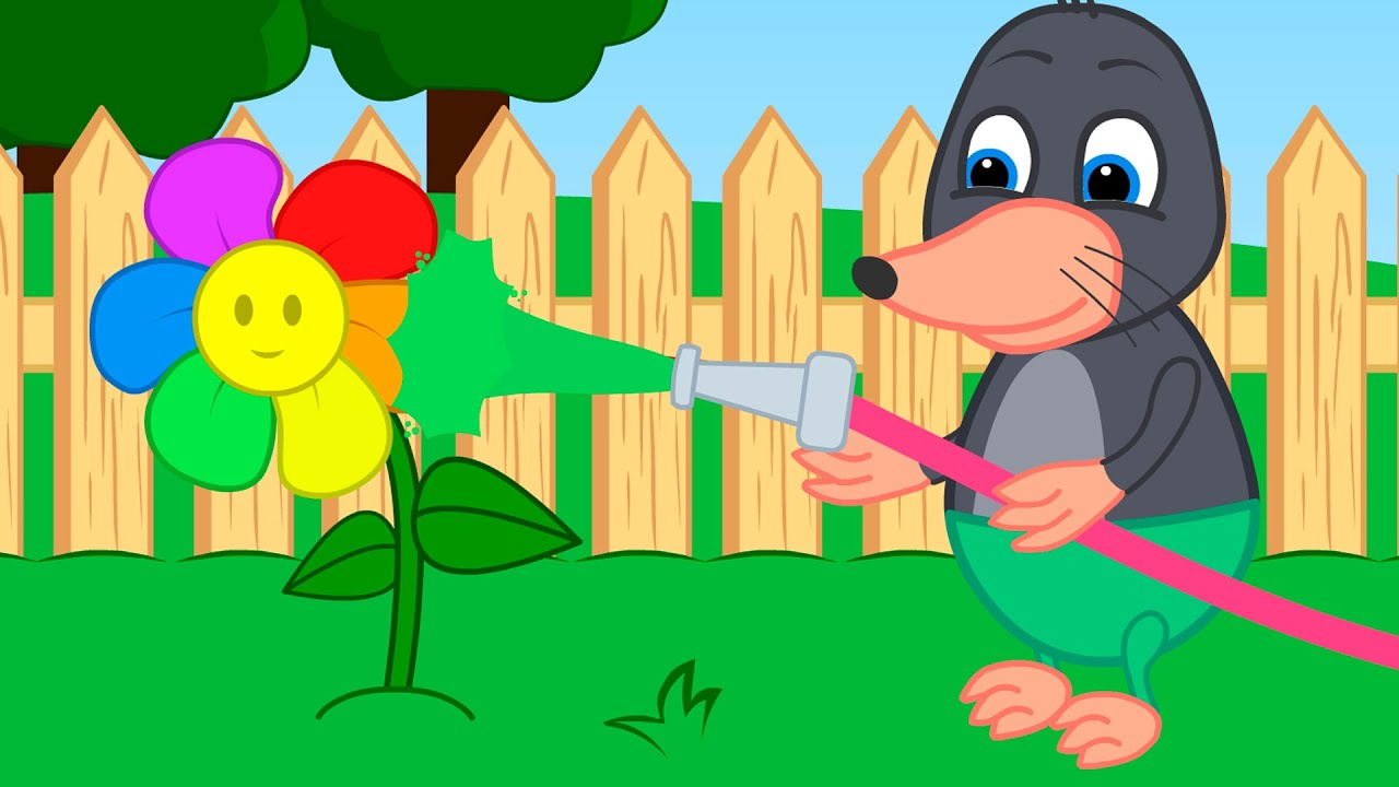Benny Mole and Friends - Water The Flowers With Rainbow Water Cartoon for Kids