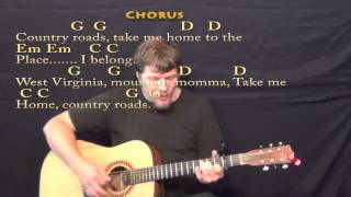 country roads strum guitar cover lesson with lyrics chords