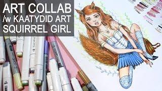 ART COLLAB w/ Kaatydid Art 【 Modern Tattooed Girls ✔ Squirrel Girl Drawing 】