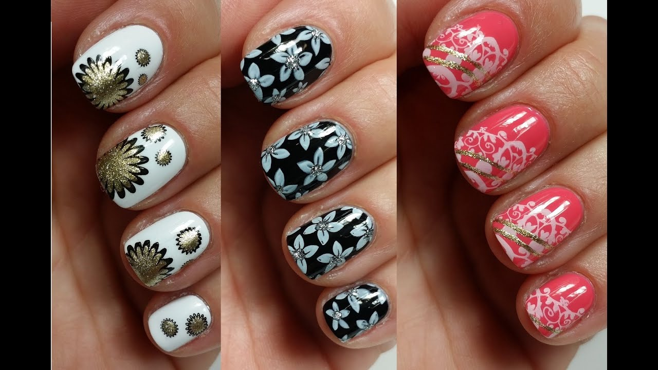3 easy nail art designs for short nails stamping youtube prinsesfo Gallery