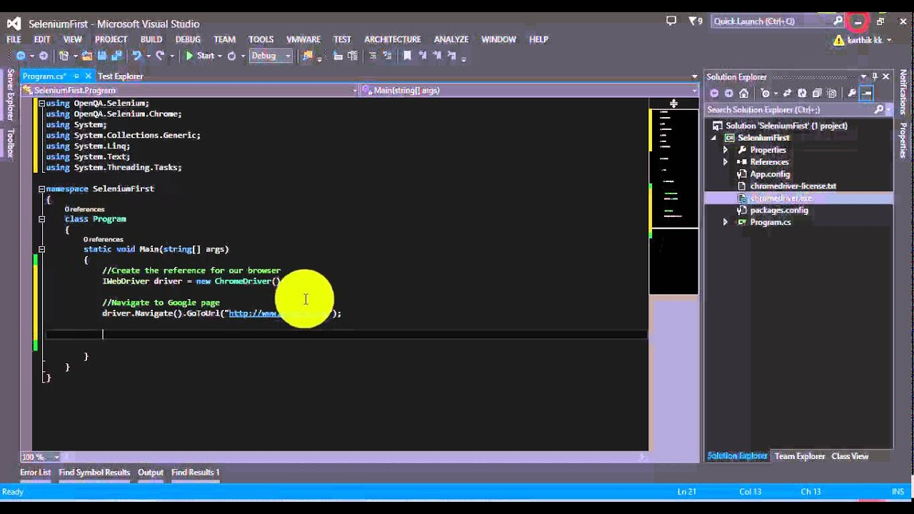 Simple code with Selenium C# – ExecuteAutomation