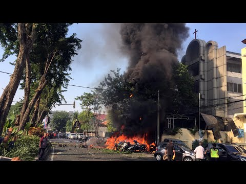 Three churches blasted by suicide bombers in Indonesia