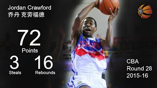 Jordan Crawford | 72 Points 16 Rebounds | China CBA 2015-16 | Full Highlight Video