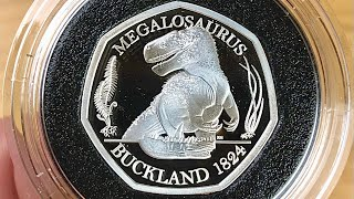 Only 3,000 Minted!! Silver Proof Megalosaurus Dinosaur 50p Coin    2020 UNPACKAGING VIDEO