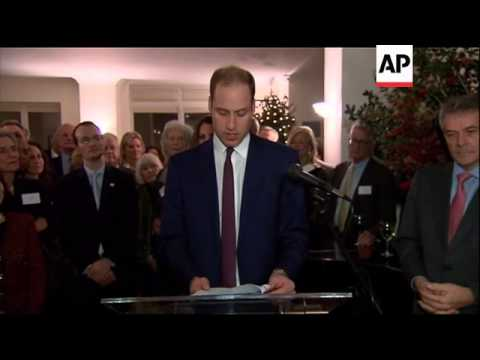 Prince William and Kate Middleton attend reception at British Consul General's residence