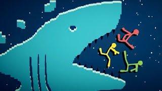 SHARK ATTACK! - Best Stickfight Maps! - Stick Fight Custom Maps Multiplayer