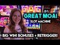 GREAT BIG WIN!! Great MOAI Slot Machine! BONUSES!! Re-Trigger!!!