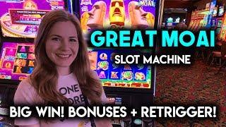 GREAT BIG WIN!! Great MOAII Slot Machine! BONUSES!! Re-Trigger!!!