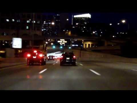 John F. Fitzgerald Expressway (Interstate 93 Exits 18 to 31) northbound (Night)