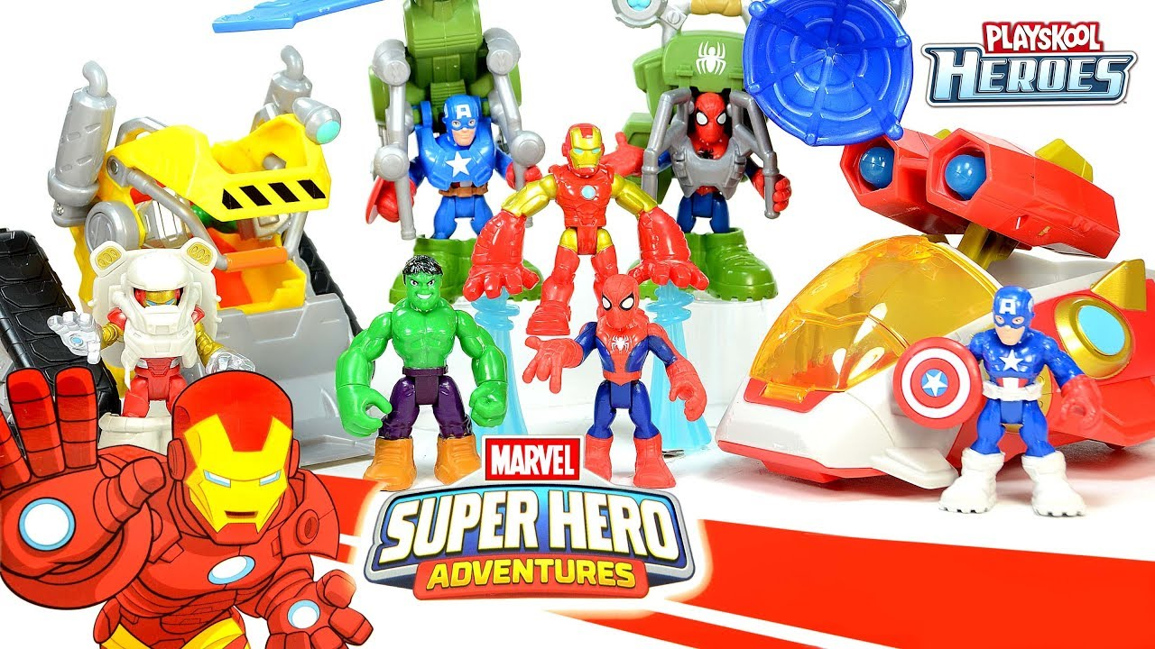 Captain America Spider-Man Hulk & Iron Man Starship Marvel Super Hero  Adventures Playskool Heroes