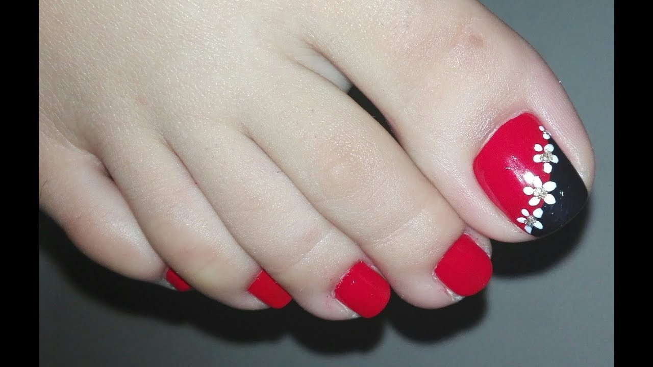 Easy Diy Red And Black With White Flowers Toenail Art Tutorial No