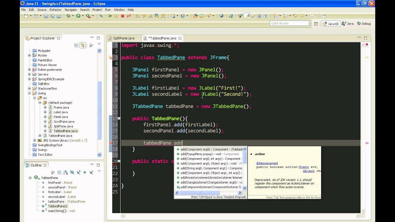 Java swing gui tutorial 6 jtabbedpane youtube baditri Gallery