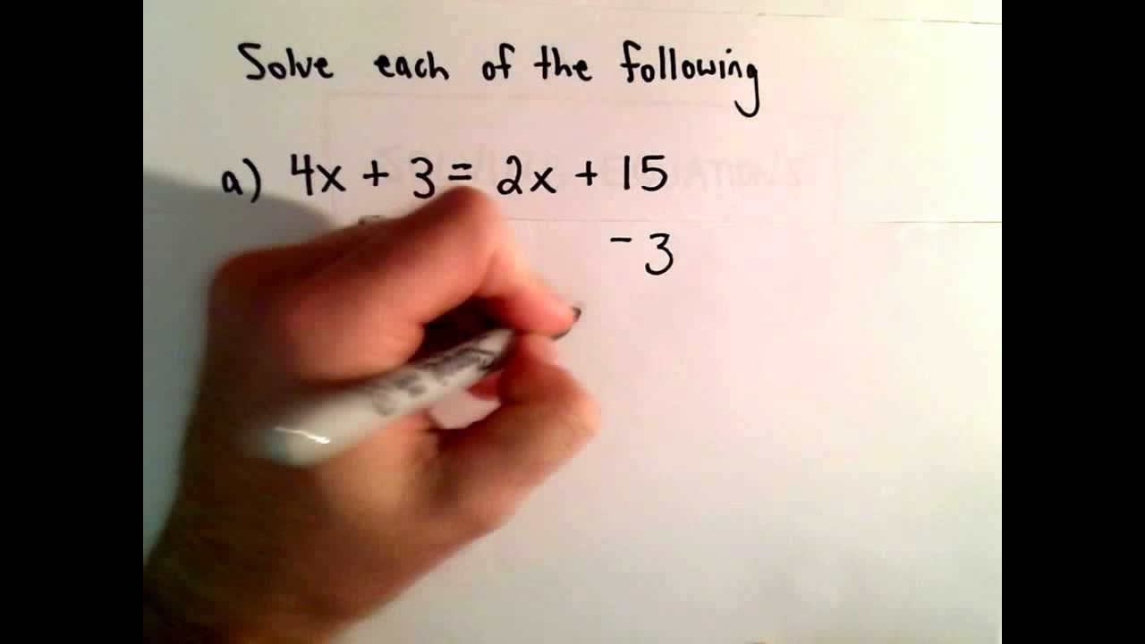 Solving a Linear Equation with Variables on Both Sides of the Equation, Ex 1