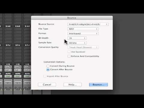 Bounce to Disk in Pro Tools