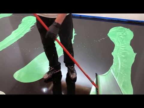 Vibrant Green and Black Epoxy Floor