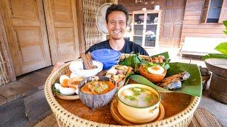 Green Bamboo Curry!! VILLAGE THAI FOOD in Sukhothai, Thailand!  บ้านนาต้นจั่น