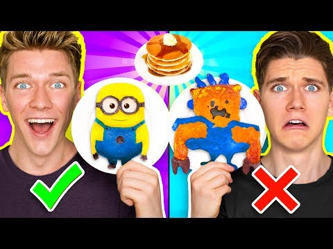 PANCAKE ART CHALLENGE!!! Learn How To Make Minions Spiderman