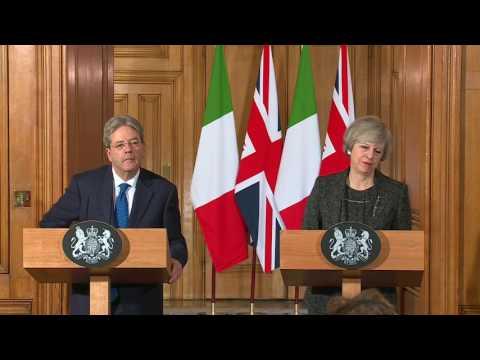 Londra - Conferenza stampa di Paolo Gentiloni e Theresa May (09.02.17)