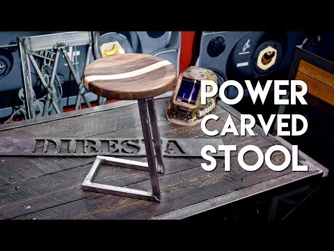power-carved-walnut-and-steel-bar-stool-/-shop-stool-build-|-fabtech-2017---woodworking