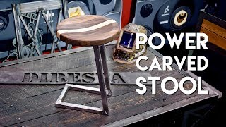 Power Carved Walnut And Steel Bar Stool / Shop Stool Build   Fabtech 2017 - Woodworking