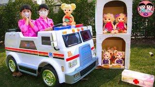 หนูยิ้มหนูแย้ม   ขับรถพยาบาลช่วยเด็ก Pretend play and Ride-on the Ambulance