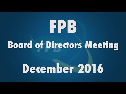 FPB Board of Directors Meeting December 2016