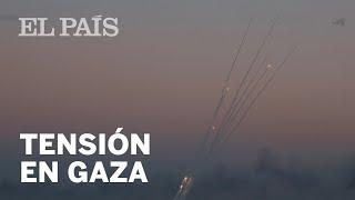 Lluvia de cohetes de Gaza sobre Israel