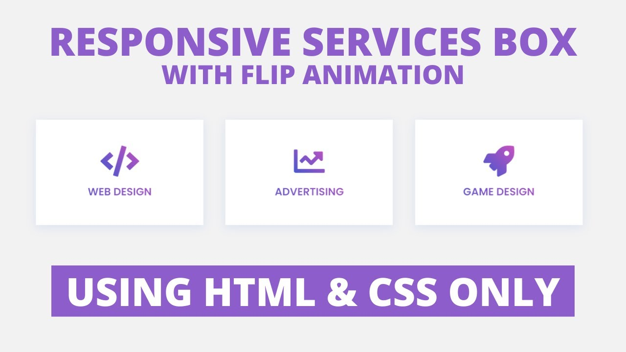 Responsive Services Box with Flip Animation using only HTML & CSS