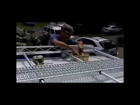Sprinter roof rack installation including roof rail kit.