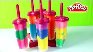 Paletas de Plastilina-Rainbow Play Doh Popsicles