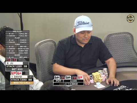 David Chan's Insane Call Down with a pair of Sixes ♠ Live at the Bike!