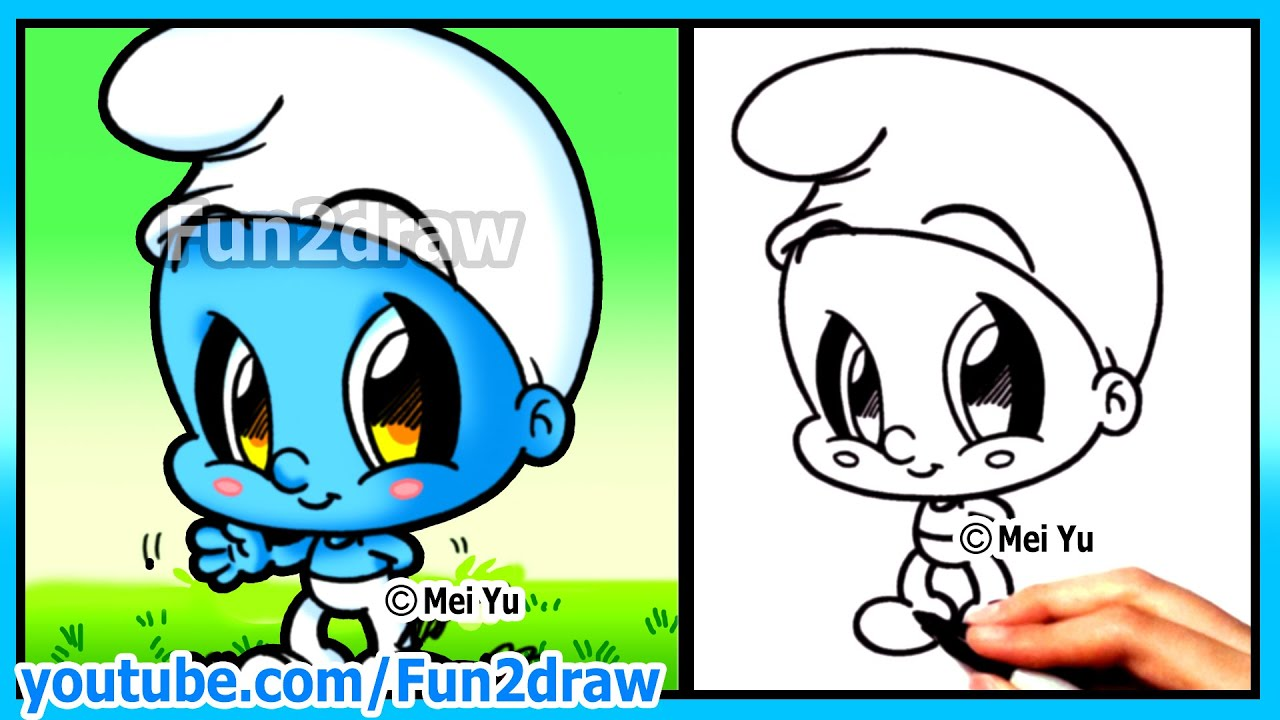 how to draw cartoons smurf funny extra drawing cute art fun2draw chibi youtube