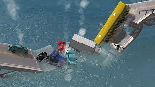 Collapsing Bridge Pileup Crashes 16 | BeamNG.drive
