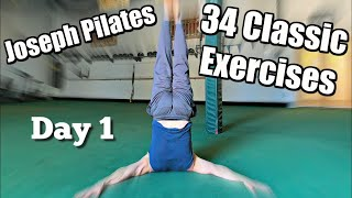FULL Joseph Pilates 34 Classic Mat Exercises (my 1st attempt)