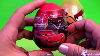 Angry Birds Toy Surprise Eggs SHREK, Pixar Cars Disney Monsters University, Spongebob, Super Mario