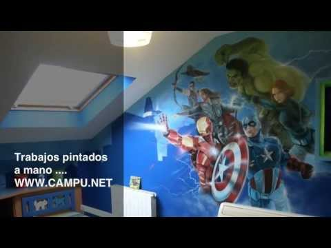 Mural juvenil los vengadores youtube for Decoracion para pared de recamara