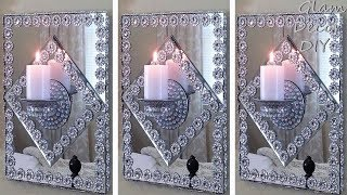 Dollar Tree DIY Glam Mirror Wall Sconces
