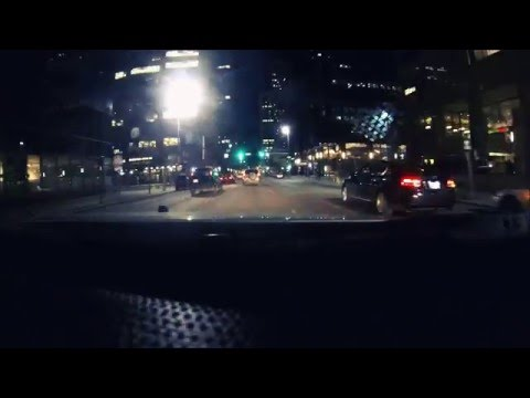 Driving through Calgary at night
