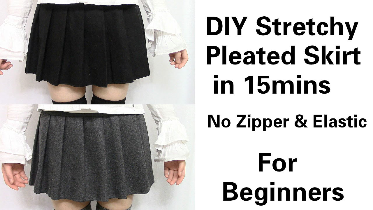 f6c54198a5 DIY Easy&Quick Stretchy Pleated Skirt in 15mins for Beginners | No Zipper &  Elastic - YouTube