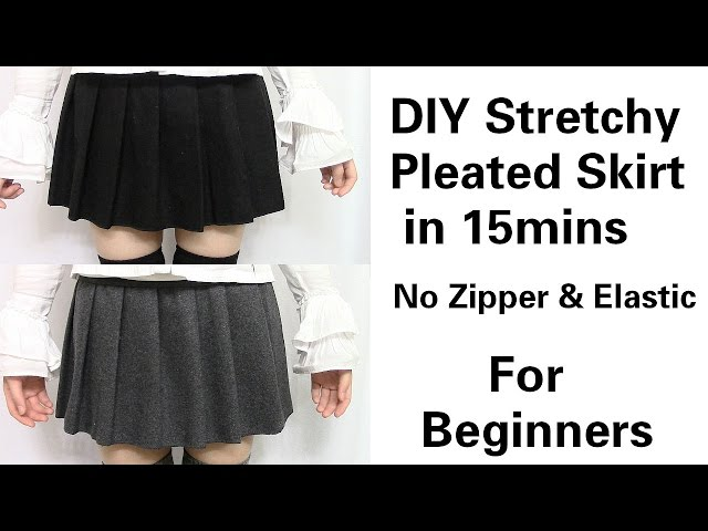 DIY Easy&Quick Stretchy Pleated Skirt in 15mins for
